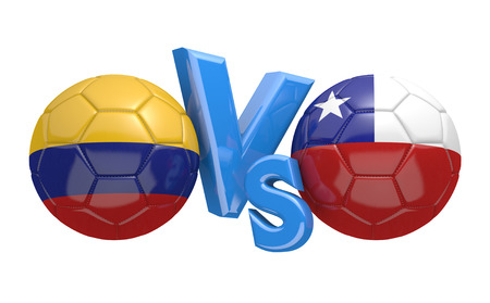 football teams: Football competition between national teams Colombia vs Chile, 3D rendering