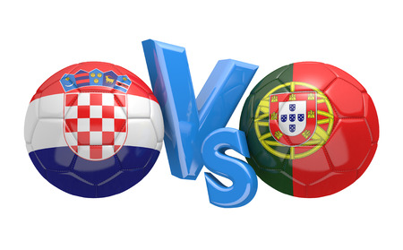 football teams: Football competition between national teams Croatia and Portugal, 3D rendering Stock Photo