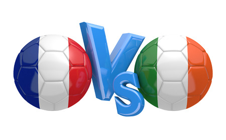 football teams: Football competition between national teams France and Ireland, 3D rendering Stock Photo