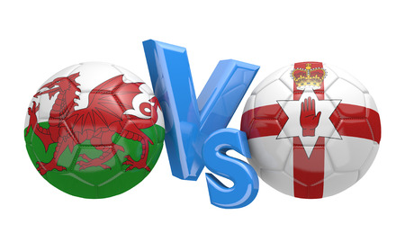 football teams: Football competition between national teams Wales and Northern Ireland, 3D rendering