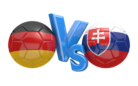 football teams: Football competition between national teams Germany and Slovakia, 3D rendering