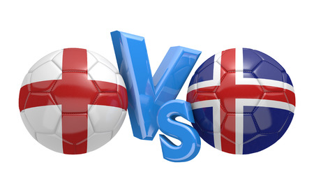 football teams: Football competition between national teams England and Iceland, 3D rendering Stock Photo