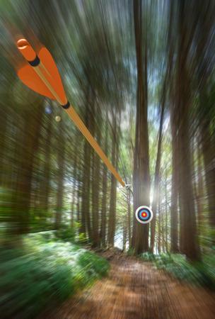 Arrow speeding to archery target with motion blur, part photo, part 3D rendering Foto de archivo