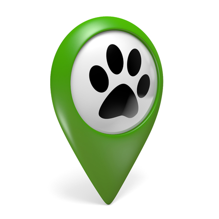 Green map pointer icon with paw symbol for pet shops and animal services, 3D rendering