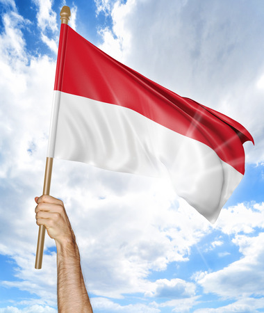 national flag indonesian flag: Persons hand holding the Indonesian national flag and waving it in the sky, 3D rendering Stock Photo