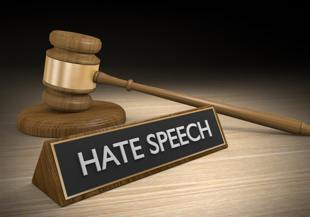 defamation: Laws against hate speech and other inciteful language, 3D rendering