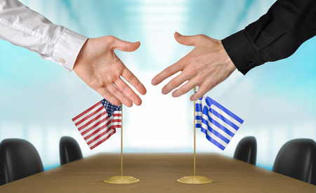 diplomats: United States and Greece diplomats shaking hands to agree deal, part 3D rendering