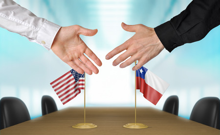 United States and Chile diplomats shaking hands to agree deal, part 3D rendering Reklamní fotografie