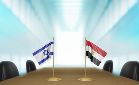 conversaciones: Israel y Egipto relaciones y conversaciones acuerdo comercial, 3D Foto de archivo