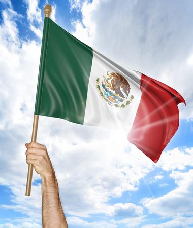 bandera mexicana: Mano de la persona que sostiene la bandera nacional mexicana y agitándolo en el cielo, 3D