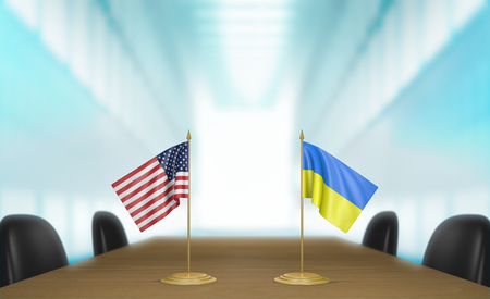 conversaciones: United States and Ukraine relations and trade deal talks, 3D rendering