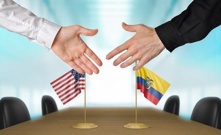 agree: Estados Unidos y Ecuador diplomáticos están de acuerdo en darle la mano a trato, la presentación de elementos 3D