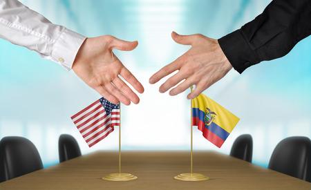 diplomats: United States and Ecuador diplomats shaking hands to agree deal, part 3D rendering