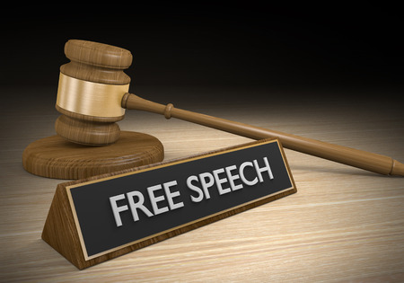 Laws for protecting free speech and freedom of expression, 3D rendering Foto de archivo
