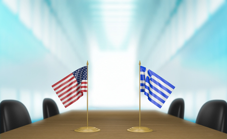 conversa: United States and Greece relations and trade deal talks, 3D rendering