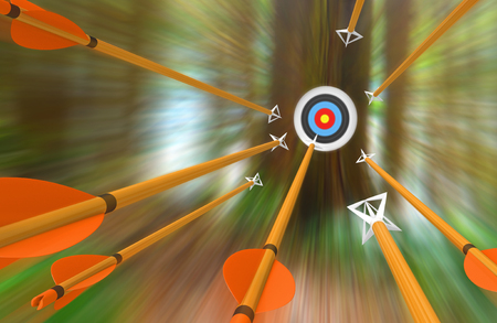 Barrage of arrows flying to an archery target in blurred motion, 3D rendering Banco de Imagens