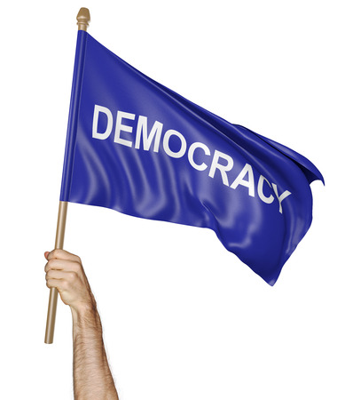 raise the white flag: Persons hand holding a waving flag with the word democracy, 3D rendering