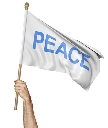 raise the white flag: Persons hand holding a waving flag with the word peace, 3D rendering Stock Photo