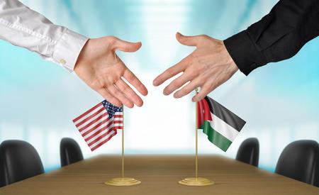 coincidir: Estados Unidos y Jordania, los diplom�ticos est�n de acuerdo en darle la mano a trato, la presentaci�n de elementos 3D
