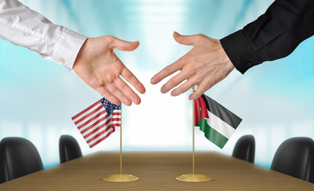 United States and Jordan diplomats shaking hands to agree deal, part 3D rendering