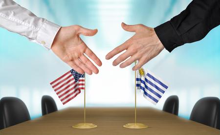 coincidir: Estados Unidos y Uruguay diplom�ticos est�n de acuerdo en darle la mano a trato, la presentaci�n de elementos 3D