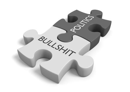 nonsense: Two joined puzzle pieces with the words politics and bullshit, 3D rendering Stock Photo
