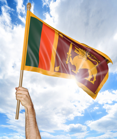 sri lankan flag: Persons hand holding the Sri Lankan national flag and waving it in the sky, 3D rendering Stock Photo