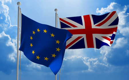 European Union and United Kingdom flags flying together for Brexit talks, 3D rendering Stock Photo