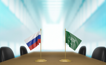 Russia and Saudi Arabia relations and trade deal talks, 3D rendering Stock Photo