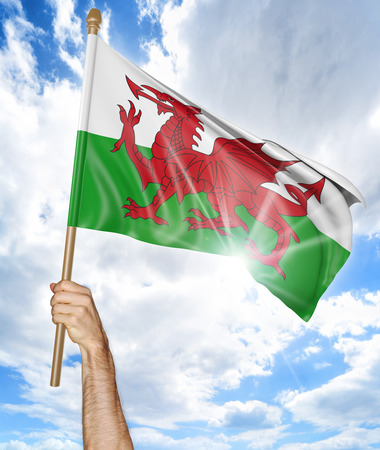 activism: Persons hand holding the Welsh national flag and waving it in the sky, 3D rendering Stock Photo