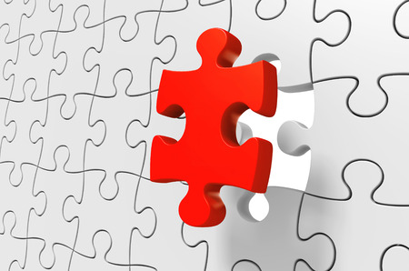 red puzzle piece: Missing red puzzle piece being inserted to solve a complex challenge, 3D rendering Stock Photo