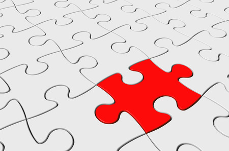 red puzzle piece: Red puzzle piece inserted as the solution to a challenging jigsaw, 3D rendering Stock Photo