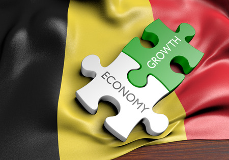 financial growth: Belgium economy and financial market growth concept, 3D rendering