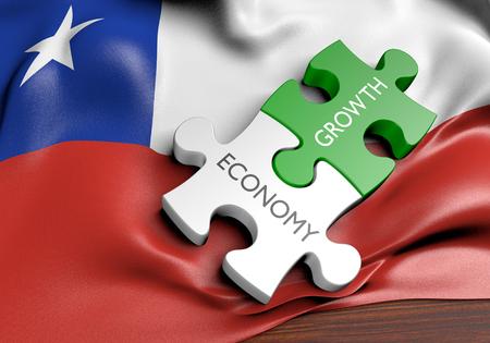 bandera chilena: economía de Chile y del concepto del crecimiento de los mercados financieros, 3D Foto de archivo
