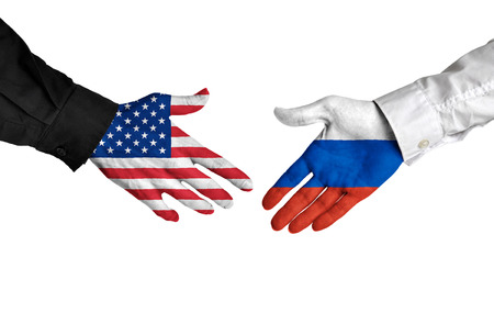 United States and Russia leaders shaking hands on a deal agreement Stock Photo
