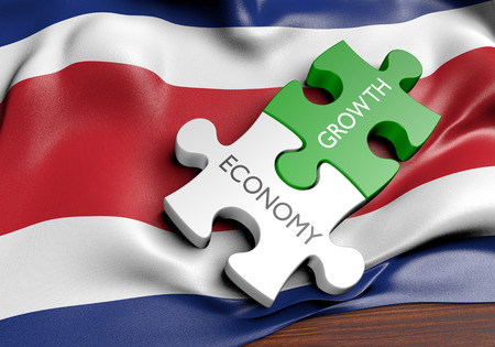 costa rican flag: Costa Rica economy and financial market growth concept, 3D rendering