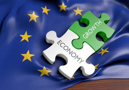 financial growth: European Union economy and financial market growth concept, 3D rendering Stock Photo