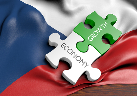 financial growth: Czech Republic economy and financial market growth concept, 3D rendering Stock Photo