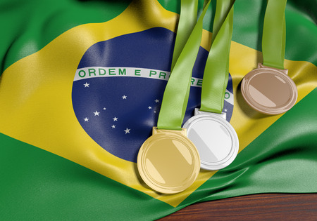 Brazil and 2016 summer games sports competition, 3D rendering