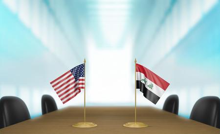 conversaciones: Estados Unidos e Irak relaciones y conversaciones acuerdo comercial, representación 3D Foto de archivo