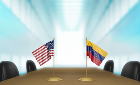 United States and Venezuela relations and trade deal talks, 3D rendering Stock Photo