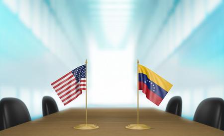 conversaciones: United States and Venezuela relations and trade deal talks, 3D rendering Foto de archivo