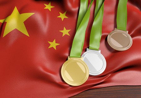 medalist: China and 2016 summer games sports competition medals, 3D rendering
