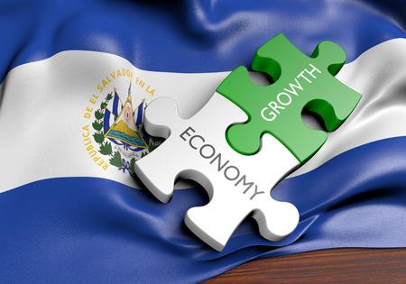bandera de el salvador: Concepto de crecimiento del mercado económico y financiero de El Salvador, 3D Foto de archivo