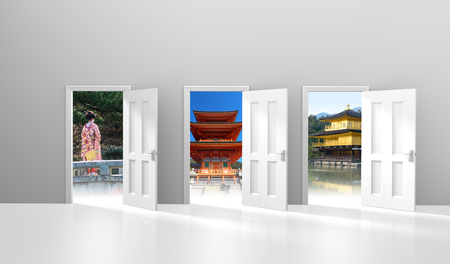 Travel and tourism concept of open doors to vacation destinations in Japan, part 3D rendering