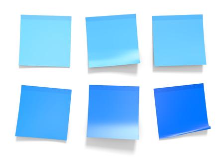 Conjunto de azul oficina de notas adhesivas para recordatorios e información importante, representación 3D