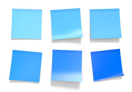 Set of blue office sticky notes for reminders and important information, 3D rendering