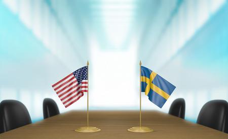conversaciones: Estados Unidos y Suecia relaciones y conversaciones acuerdo comercial, representación 3D Foto de archivo