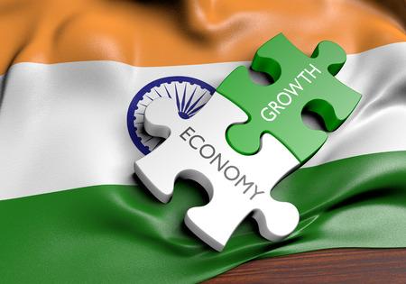 Economia dell'India e concetto di crescita del mercato finanziario, rappresentazione 3D Archivio Fotografico