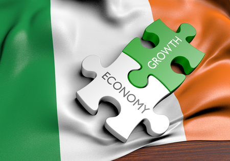 financial growth: Ireland economy and financial market growth concept, 3D rendering